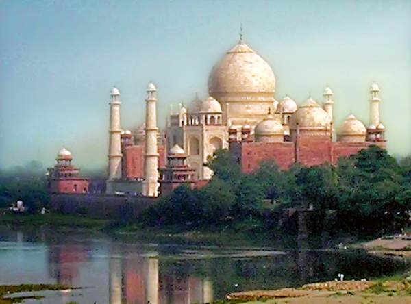 The Taj Mahal across the river